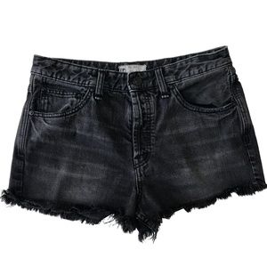 Free People Black Cut Off 5-Button Shorts  Size 28